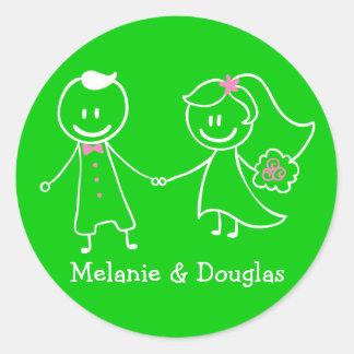 Love Bride & Groom Green Personalized Wedding Round Stickers