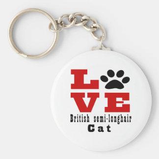 Love British semi-longhair Cat Designes Basic Round Button Keychain