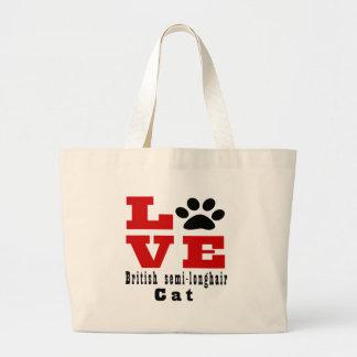 Love British semi-longhair Cat Designes Large Tote Bag