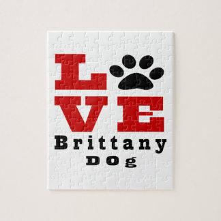 Love Brittany Dog Designes Jigsaw Puzzle