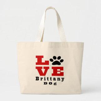 Love Brittany Dog Designes Large Tote Bag