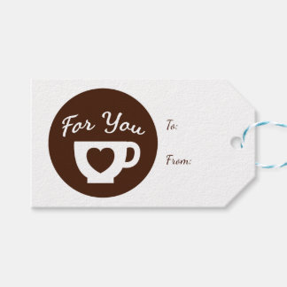 Love Brown And White Heart Coffee Cup - Wedding Gift Tags