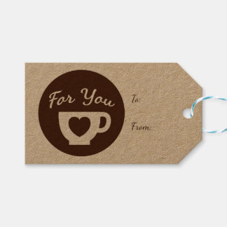Love Brown And White Hearts Coffee Cup - Wedding Pack Of Gift Tags