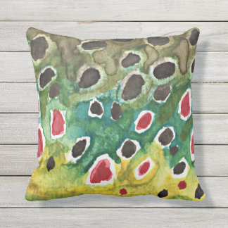 Love Brown Trout Fishing Outdoor Pillow