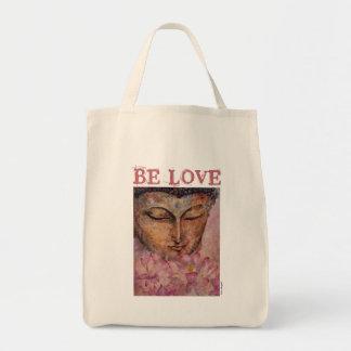LOVE Buddha Art Canvas Grocery Tote