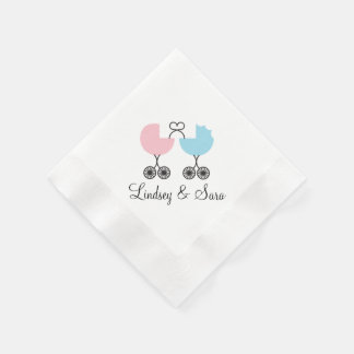 Love Buggies Joint Baby Shower Napkins, Pink/Blue Disposable Napkin