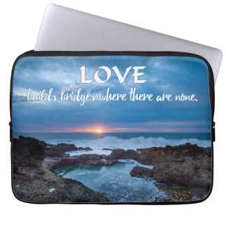 Love Builds Bridges laptop sleeves