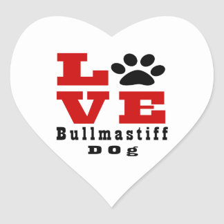 Love Bullmastiff Dog Designes Heart Sticker
