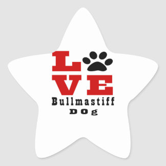 Love Bullmastiff Dog Designes Star Sticker