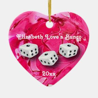 Love Bunco Dice Heart Monogram Ceramic Ornament