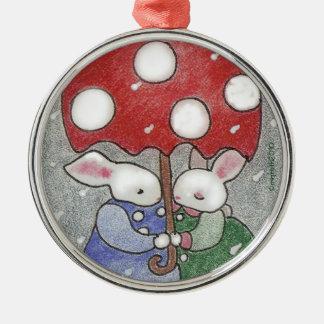 love bunnies Christmas ornament