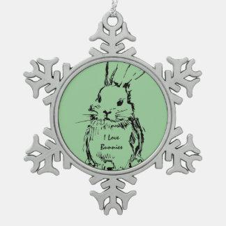 Love Bunnies (customizable) Pewter Snowflake Ornament