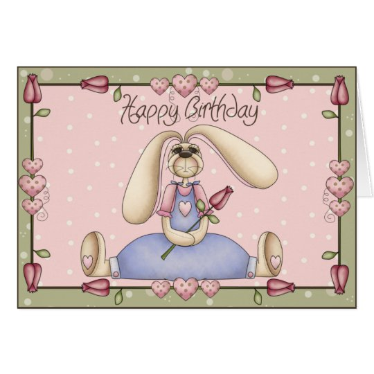 Love Bunny Birthday Greeting Card