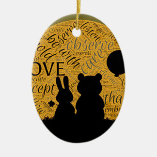 Love bunny ceramic ornament