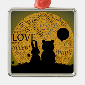 Love bunny metal ornament