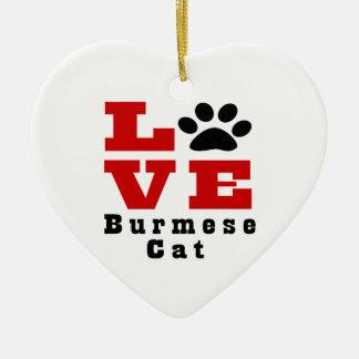 Love Burmese Cat Designes Ceramic Heart Ornament