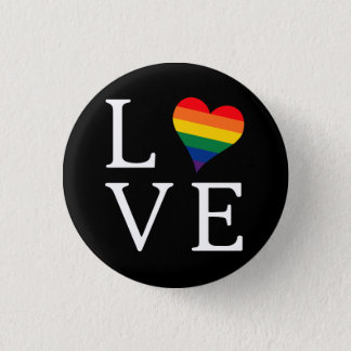 LOVE Button with Rainbow Pride Heart