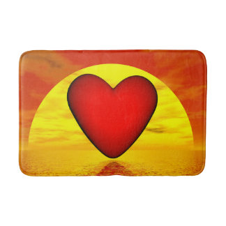 Love by sunset - 3D render Bath Mat