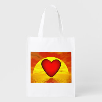 Love by sunset - 3D render Reusable Grocery Bag