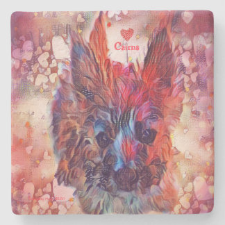 Love Cairns Puppy Square Stone Coaster