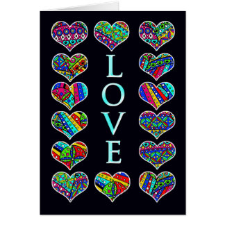 LOVE, Calico hearts on black Card