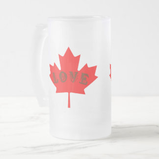 love Canada Day flag  frosted mug