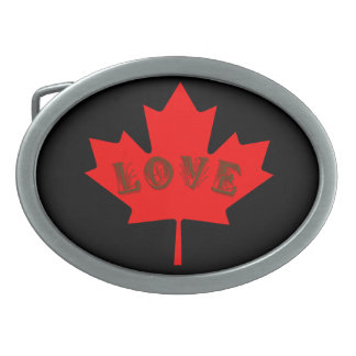 Love Canada Day red maple leaf belt buckle