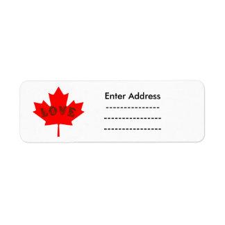Love Canada Day red maple leaf label sticker Return Address Label