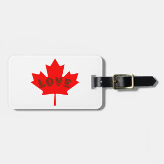 love Canada red maple leaf travel luggage tag
