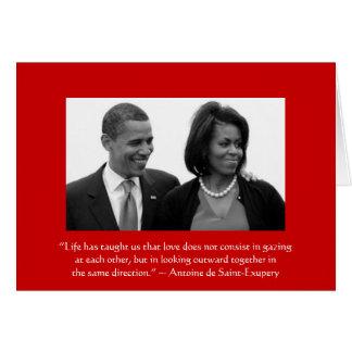 LOVE CARD/OBAMA, Antoine de Saint-Exupery quote Card