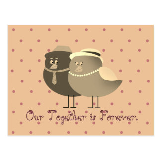 Love Cartoon Birds Couple Retro Cute Polka Dots Postcard