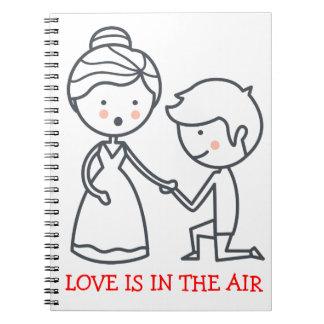 Love Cartoon Bride & Groom Black White Wedding Notebooks