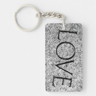 """Love"" Carved Stone Keychain"
