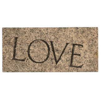 """Love"" Carved Stone Wood USB Flash Drive"