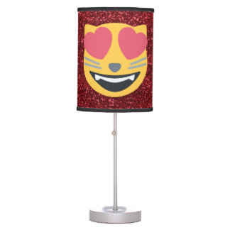 Love Cat Emoji Red Glitter Lamp Shades