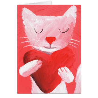 love cat -white greeting card
