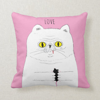 LOVE Cat With Mouse Funny Drawing Throw Pillow