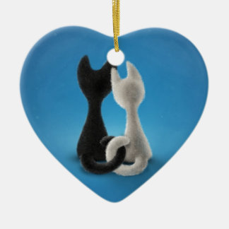Love Cats Black and White Ceramic Ornament