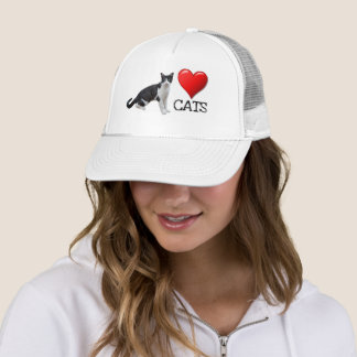 Love Cats Tuxedo Cat Trucker Hat