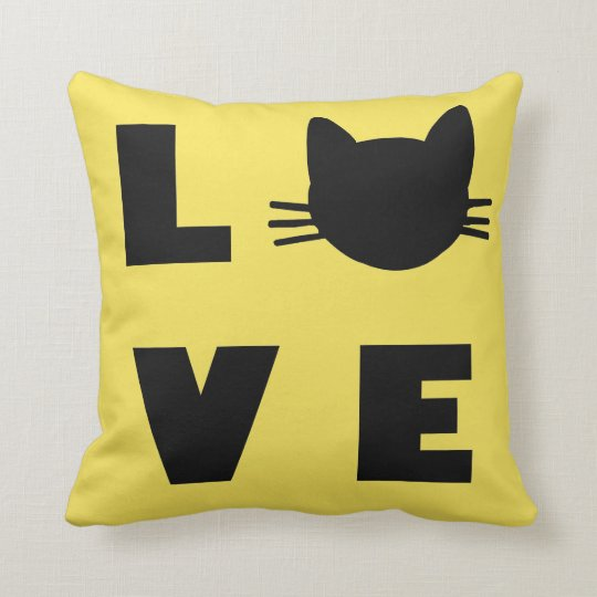 Love Cats (yellow) Throw Pillow
