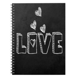 Love Chalkboard Black & White Hearts Spiral Notebook