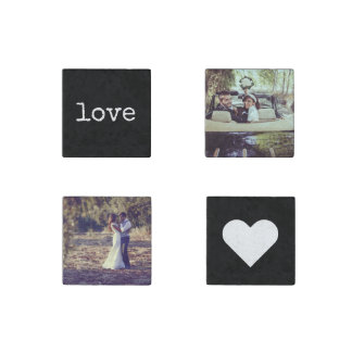 Love Chalkboard Style Photo Stone Magnets