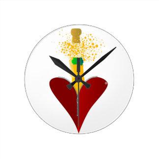 Love Champagne Round Clock
