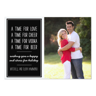 "Love Cheer Vodka Beer Humorous Holiday Photo Card 5"" X 7"" Invitation Card"