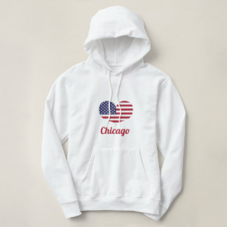 Love Chicago | Heart Shaped American Flag Hoodie