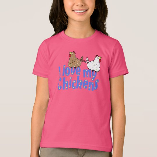 Love Chickens - Girls Dark T-shirt