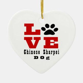 Love Chinese Sharpei Dog Designes Ceramic Heart Ornament