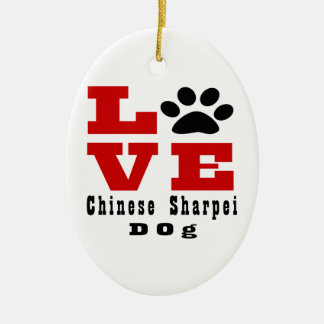 Love Chinese Sharpei Dog Designes Ceramic Oval Ornament