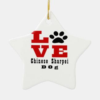 Love Chinese Sharpei Dog Designes Ceramic Star Ornament