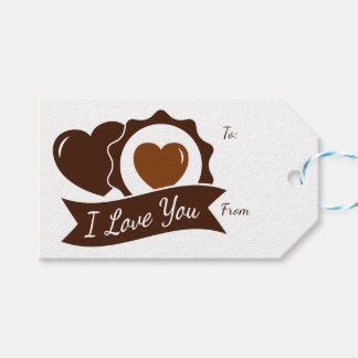Love Chocolate Hearts Brown And White Wedding Gift Tags